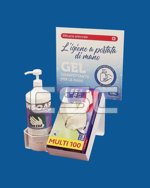 Espositore per dosatore sapone e guanti